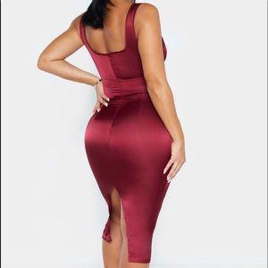 burgundy satin cut out midi dress